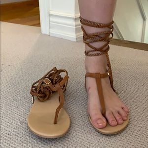 Aldo tie up tan sandals